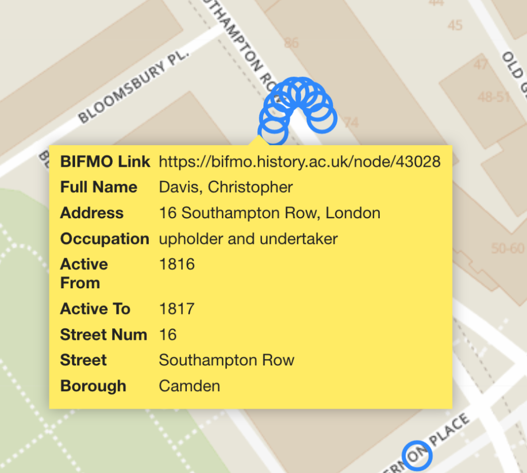 Detail of map showing furniture makers active in Bloomsbury, with reference to the BIFMO record card.