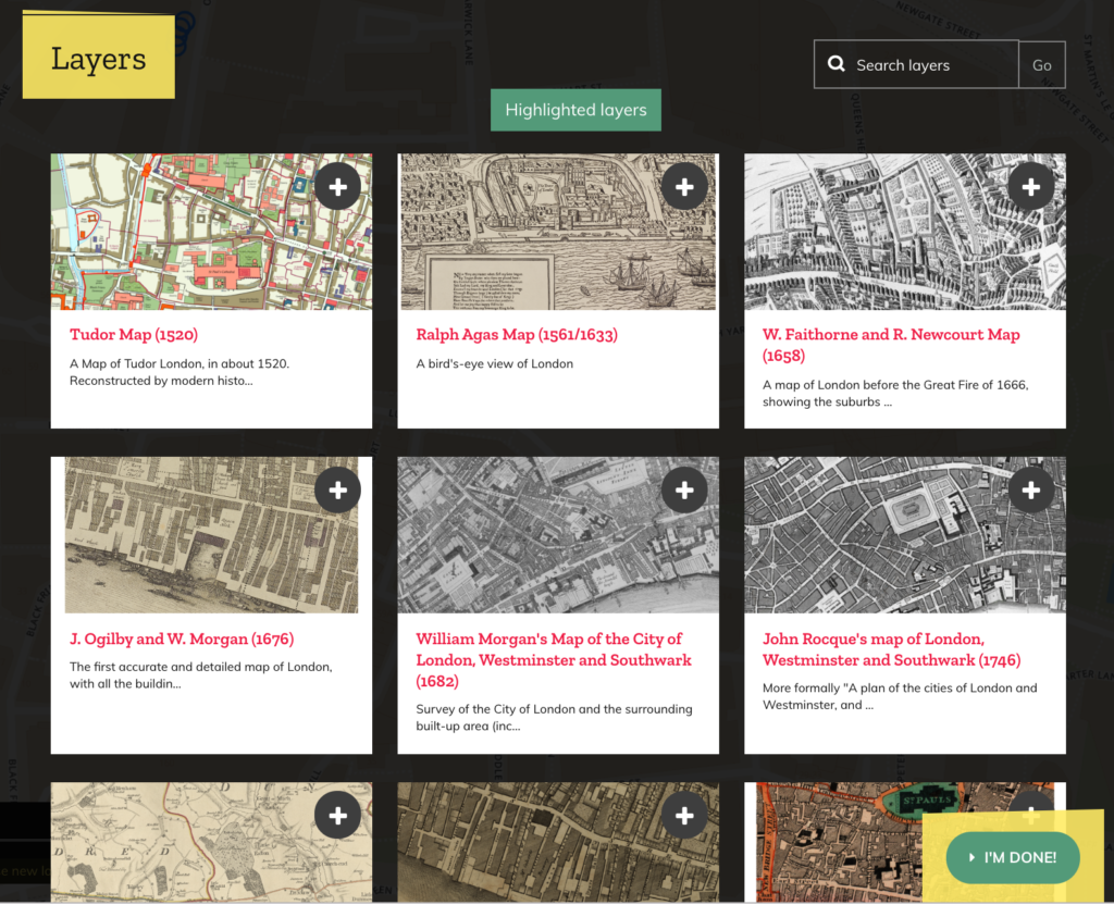 The Layers site offers 15 historical map interfaces from Tudor to present-day London.