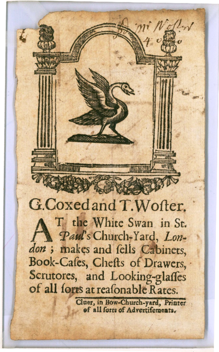 Trade card of G. Coxed and T. Woster